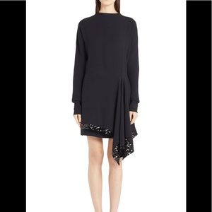 Marni Assymetrical Crepe Embellished Hem Dress